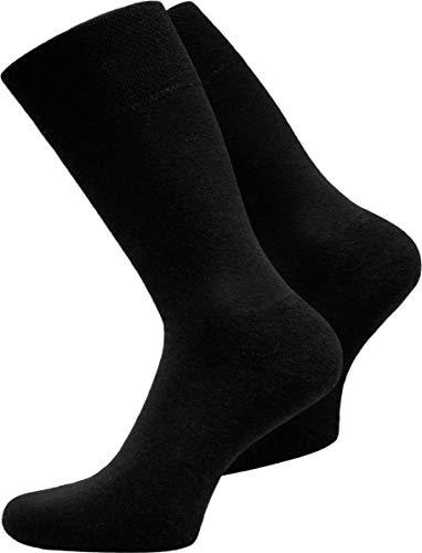normani 15 Paar Herren Business Socken 100prozent Baumwolle Arztsocken Apothekersocken Weiss Kochfest - Oeko-TEX® 100 - Top Qualität Farbe Schwarz Größe 47-50