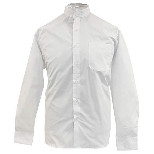 MISEMIYA - Camisa Uniforme Camarero Caballero Cuello Mao Mangas LARGAS MESERO DEPENDIENTE Barman COCTELERO PROMOTRORES - Ref.827-3, Blanco