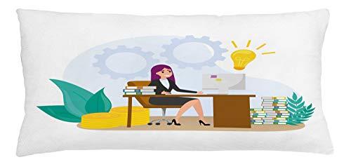 ABAKUHAUS Girl Boss Sierkussensloop, Vrouw zit aan de balie, Decoratieve Vierkante Hoes voor Accent Kussen, 90 cm x 40 cm, Veelkleurig