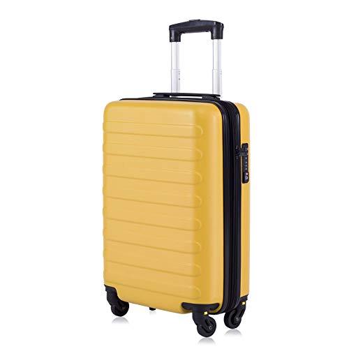 Toctoto Bagaglio a Mano Espandibile con Lucchetto TSA (20' 41LT 55x35x20cm), Adatto Per Voli Low Cost Bagaglio Da Cabina Ryanair, Vueling, Wizz Air (20'(55cm-41L)-Giallo)