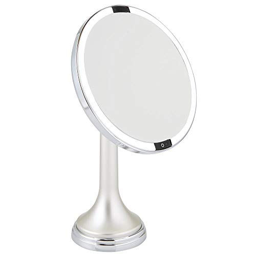 mDesign Modern Motion Sensor LED Lighted Makeup Bathroom Vanity Mirror, Large 8' Round, 3X Magnification, Hands-Free, Rechargeable and Cordless - Matte Satin/Chrome