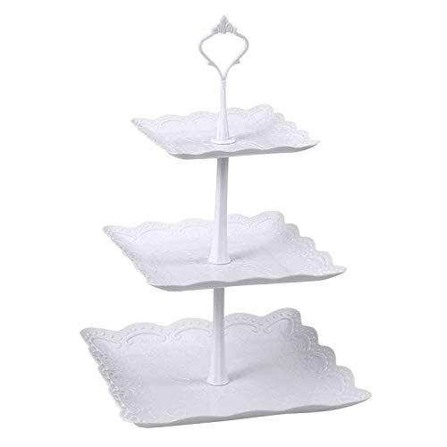 Candora Soporte cuadrado de plástico de 3 niveles para tartas de fiesta, servidor de alimentos, juego de mesa para postres y pizarra, para servir