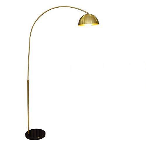 FWZJ Lámpara de pie arqueada, lámpara de pie de latón con Pantalla Ajustable, zócalo E27, luz cálida, Altura Ajustable, Base de mármol Estable, Interruptor de pie, lámpara de pie de Metal Curvo p