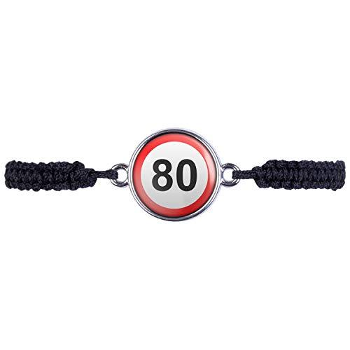 Mylery Armband mit Motiv Geburtstag Schild Zahl 80 Achtzig Silber 16mm
