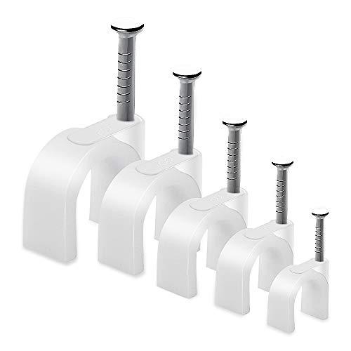 AGPTEK 500 Stücke Kabelschellen Nagelschellen Haftclips mit Nagel für Kabel Größen: 4mm, 5mm, 6mm, 8mm,10mm, 100 Stück je Größe, Weiß(Verbesserte Version)