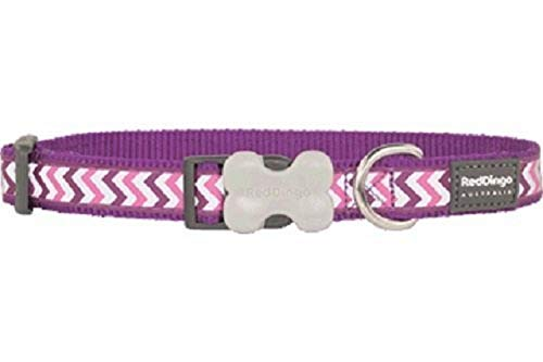 Red Dingo Reflective Ziggy Dog Collar, Medium-Large, Purple