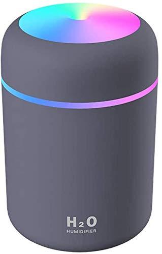 DOHAPPYS Mini Cool Mist Luftbefeuchter, 300 ml, tragbarer Mini-USB-Aromatherapie-Diffusor, kühler Nebel, Verdampfer mit buntem Nachtlicht, für Zuhause, Schlafzimmer, Büro, Auto, Reisen