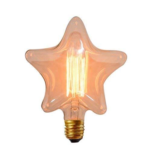 LEDMOMO 2700K Luces de Bulbo del Filamento de Tungsteno en Forma de Estrella E27 Bombilla Incandescente de Base del Tornillo Blanco Cálido