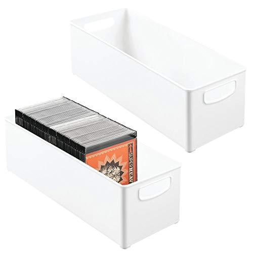 mDesign Juego de 2 Cajas de almacenaje apilables para Guardar DVD – Sistema de almacenaje con Asas para DVD, CD y Videojuegos – Caja para DVD de plástico – Blanco