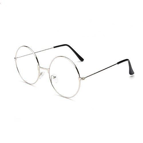 ROSENICE, Gafas redondas Unisex, Retro Gafas de lentes transparentes, Ultraligeras para Cosplay (Plata)