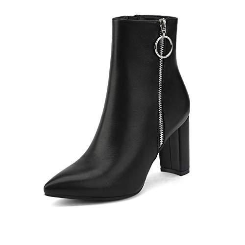 DREAM PAIRS Women's Black Pu Chunky High Heel Ankle Booties Size 8 B(M) US Sianna-3