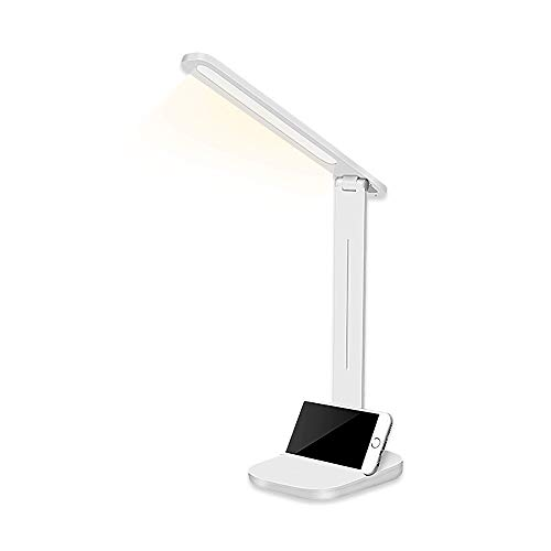 Schreibtischlampe LED, Dimmbare Tischleuchte mit USB-Ladeanschluss 3 Helligkeitsstufen,Touch-Bedienung Leselicht,Faltbar Augenschutz Tischlampe,Schwenkbar LED Bürolampe,Leselampe[Energieklasse A+]