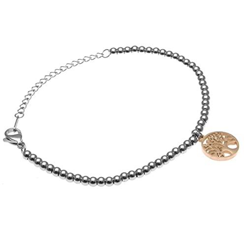 amorili Pulsera de Mujer con el corazón de un Color Turquesa de inspiración Tiffany Inoxidable cm de Largo, 19 - bcc1521