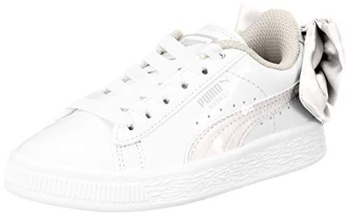 Puma Basket Bow Dots AC PS, Zapatillas para Niñas, Blanco White-Silver Gray 3, 34 EU