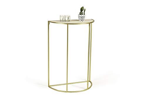 LIFA LIVING Moderner Konsolentisch Halbrund Gold, Beistelltisch aus Metall und MDF-Holz, Wandtisch für Flur, Wohnzimmer, Schlafzimmer, maximal 6 kg Belastbarkeit