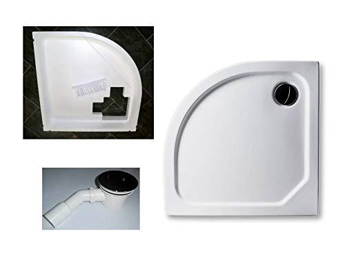 KOMPLETT-PAKET: Duschwanne 100 x 100 cm Viertelkreis Radius 55,superflach 2,5 cm weiß Acryl + Styroporträger/Wannenträger + Ablaufgarnitur chrom DN 90