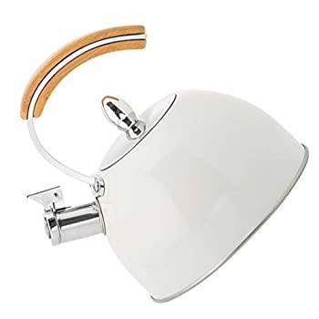 PIXNOR Stainless Steel Whistling Kettle Whistling Tea Kettle with Wooden Handle Stovetop Tea Kettle Stainless Steel Whistling Teapot for Home Kitchen White