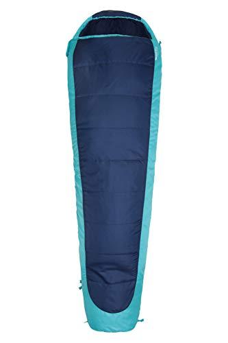Mountain Warehouse Sac de Couchage Microlite 500 Confortable pour Adulte - 14 x 35 cm Bleu Zip à Droite - Longueur Standard