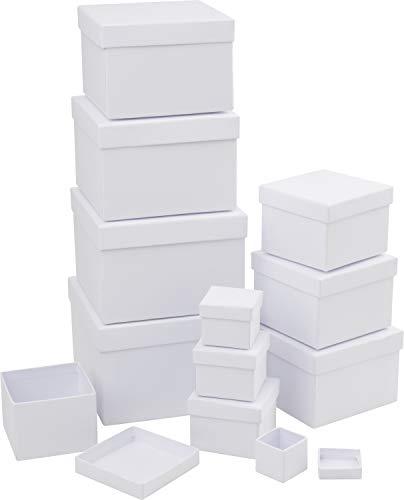 Schachteln, 12er-Set, Quadrat, Karton, Schachtel quadratisch, Geschenkschachteln