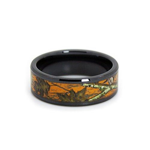 #1 Camo Blaze Orange Camo Bands - Black Rings - Hunting Orange Camouflage Wedding Rings - Ring Size 11