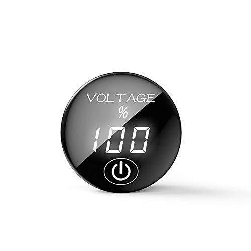 YGL DC 5V-48V Medidor de Voltaje LED Pantalla de Capacidad de Batería Voltímetro con Interruptor ON Off para Coche Moto(Blanco)