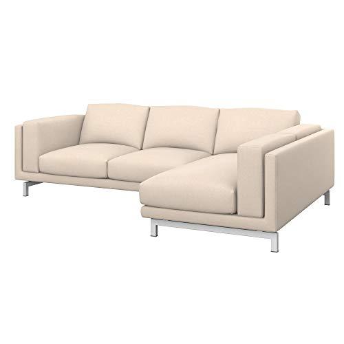 Soferia Funda de Repuesto para IKEA NOCKEBY sofá de 2 plazas con chaiselongue dcha, Tela Softi Beige, Beige
