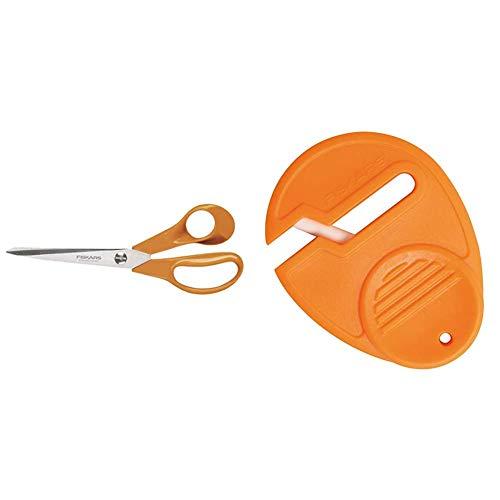 Fiskars Classic Universal Tijeras para manualidades, costura y oficina, Longitud: 21 cm, para diestros, Naranja, 1005148 + Afilador de Tijeras Universal, para diestros y zurdos, Afilador de cerámica