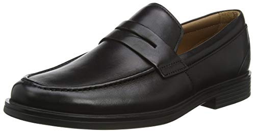 Clarks Un Aldric Step, Mocassini Uomo, Nero (Black Leather-), 41 EU