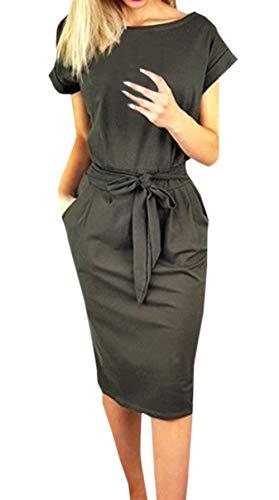 Ajpguot Damen Freizeit Kleid mit Gürtel Elegant Rundhals Midi Kleider Blusenkleider Ballkleid Festkleid Frauen Langarm Tasche Wickelkleider Abendkleider Partykleid (M, Dunkelgrau 1)