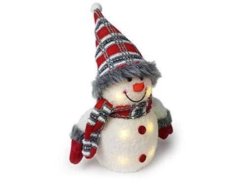 Gravidus Süßer Deko Schneemann mit LED Beleuchtung ca. 26 cm Hoch, mit Schal, Mütze und Handschuhen in Weiß, Grau, Rot gestreift, Weihnachtsbeleuchtung Fensterbank, Weihnachts-Innen-Fenster-Deko