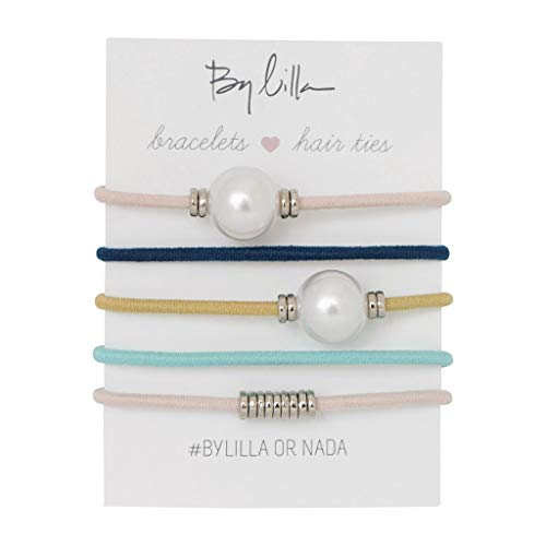 By Lilla Calypso Mini Stack Elastic Hair Ties and Bracelets | Set of 5 Hair Tie-Bracelets | Hair Accessories for Women | No Crease Hair Ties & Women's Bracelets (White Pearl / Pink / Blue / Yellow)