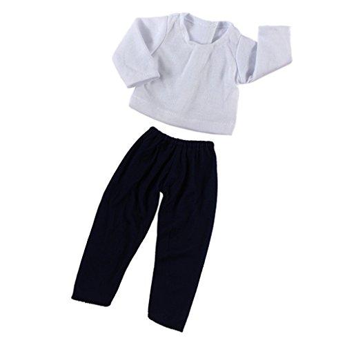 perfeclan 2pcs Puppen Kleidung Weißes Hemd + Elastische Hose Outfit Set für 18 Zoll amerikanische Mädchen-Puppe - Blauschwarz + Weiß