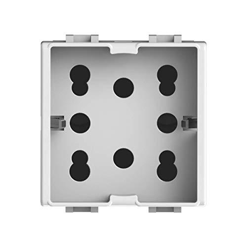 4Box 4B.AM.H21 Presa Multistandard 1 Schuko o 2 Bipasso Compatibile con Bticino Matix, 250 V, Bianco