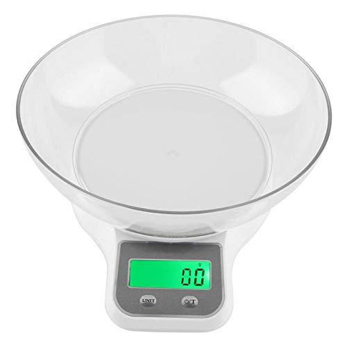 Báscula digital para alimentos de acero inoxidable WH-B21LW, báscula de cocina multifuncional para hornear, 5 kg/0,1 g para cocinar y hornear(blanco)