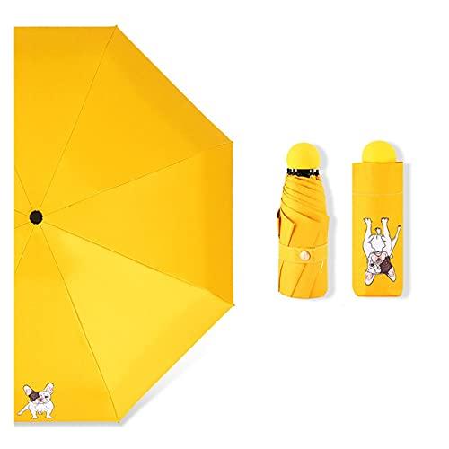 LYB Paraguas plegable de 5 perros de dibujos animados para mujeres, mini paraguas de bolsillo antipequeñas paraguas de animales (color: YS200005YE)