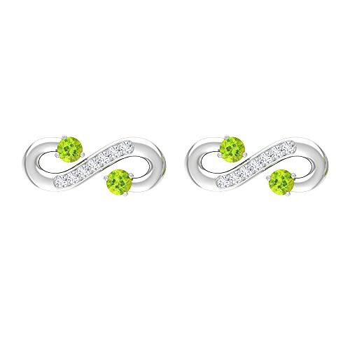 Rosec Jewels 14 quilates oro blanco redonda Green Peridoto/Olivino Diamond