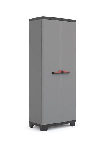 Keter Stilo Kunststoffschrank/Besenschrank, Kunststoff, Dunkelgrau, Schwarz, Rot, 68 x 39 x 173