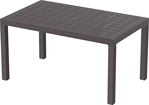 Duramax Cedargrain 6 Seater, Garden Dining Parasol Holder, Indoor & Outdoor, Rectangle Dinning Table, Patio Furniture, Sturdy & Durable, UV Resistant & Weatherproof, Brown