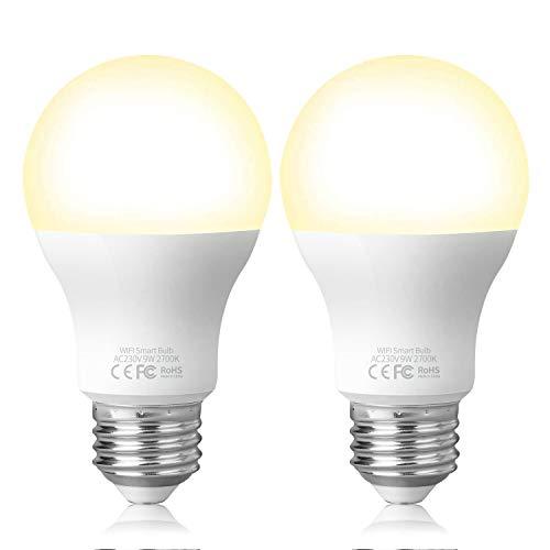 Fitop Smart LED-Lampe E27 WLAN Glühbirne, 2700K Warmweiß Birne 9W 806LM, Kompatibel mit Siri, Alexa und Google Assistant, Dimmbares LED-Licht, Wifi Lampe, kein Hub benötigt (2 Stück)