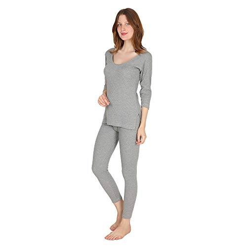 odeeps Women's 3/4 Sleeve Thermal Top and Bottom Set (Grey,...