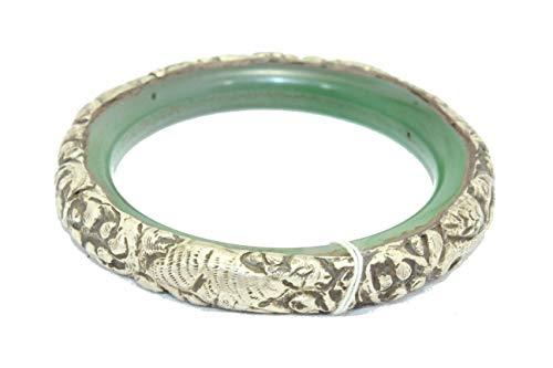 Rajasthan Gems Armreifen, versilbert, handgefertigt, orientalisch, antikes tibetisches Kunstharz innen – 02