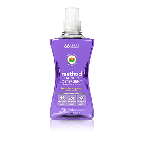 Method Laundry Detergent, Lavender + Cypress, 53.5 ounces, 66 loads, 1 pack, Packaging May Vary