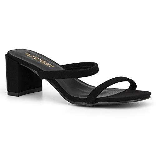 Olivia Miller Women's Shoes, Carlisle Thin Double Strap Black Open Toe Block Heel Sandals