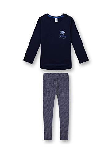Sanetta Sanetta Mädchen Pyjama Long Zweiteiliger Schlafanzug, Blau (New Navy 5377), 140 (Herstellergröße: 128)