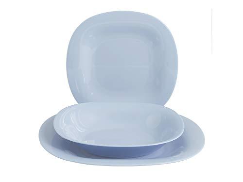 Arc Carine - Vajilla de 18 piezas, color azul claro, cristal