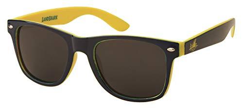 Margaritaville Eyewear Landshark Beach Time Sport Sunglasses Polarized Square, Blue Yellow, 50 mm