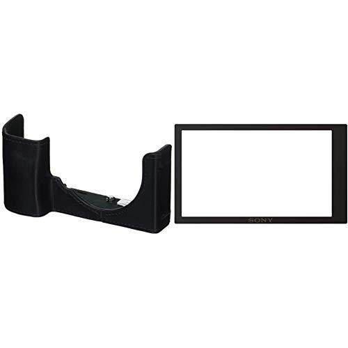 Sony LCS-E Funda para Alpha 6000 cámara Negro + PCKLM17 Protector de Pantalla para cámara Digital A6000