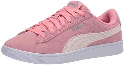 PUMA Girls' Vikky Sneaker, Peony-Rosewater Silver White, 4 M US Big Kid