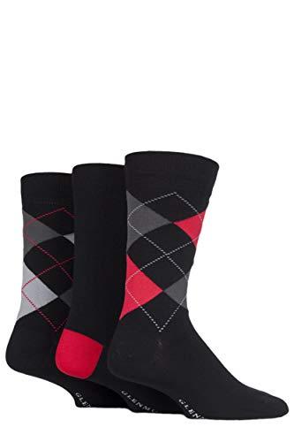 Glenmuir Herren 3 Paar Classic Argyle Socken Schwarz 2 41-46