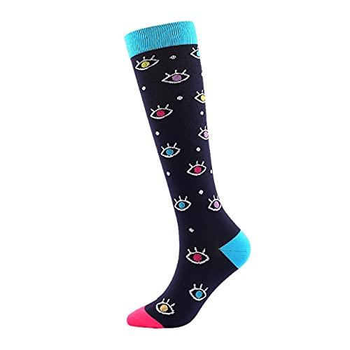 IAMZHL 3 paia casuali di calzini da uomo e da donna a compressione sportiva da corsa calze a tubo felici supportano calze a compressione lunghe in nylon da corsa all'aperto alte - 10,36-44
